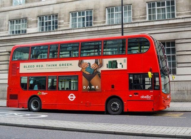 <p>Dame's new bus campaign showing a tampon string</p> (Dame)