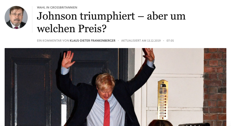 """Johnson triumphs—but at what price?"" asks Germany's Frankfurter Allgemeine Zeitung. Credit: Frankfurter Allgemeine Zeitung."