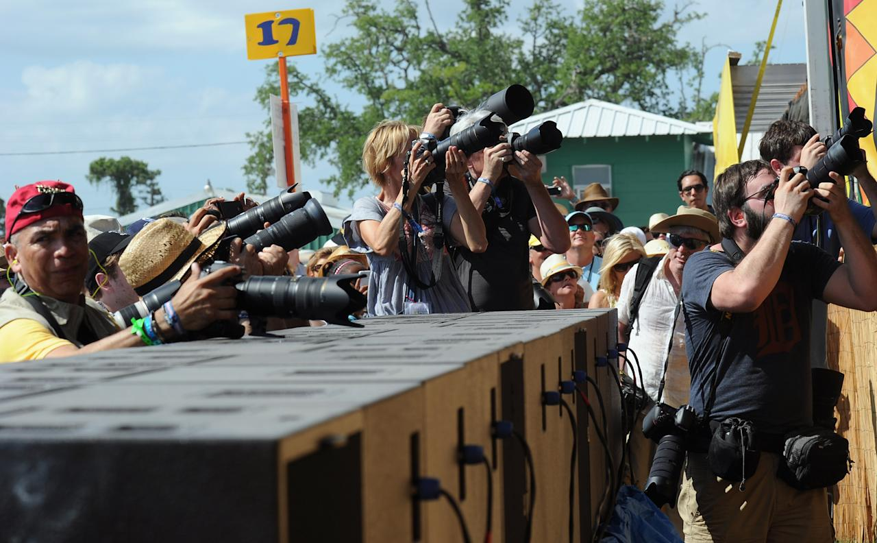 NEW ORLEANS, LA - APRIL 28:  Atmosphere during the 2012 New Orleans Jazz & Heritage Festival Day 2 at the Fair Grounds Race Course on April 28, 2012 in New Orleans, Louisiana.  (Photo by Rick Diamond/Getty Images)