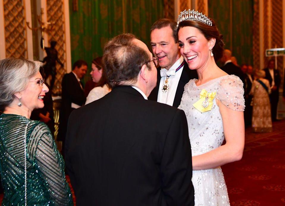 <p>Tonight, Queen Elizabeth is hosting an evening reception for members of the Diplomatic Corps at Buckingham Palace in London. The glitzy annual affair was attended by numerous members of the royal family, including Prince William and Kate Middleton. The royals were decked out in white-tie ensembles, and a few sparkling tiaras made an appearance as well. See every photo from the evening here: </p>
