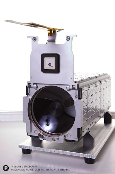 A close-up of Planet Labs' Dove 2 Earth-imaging cubesat, which launched to orbit in April 2013.