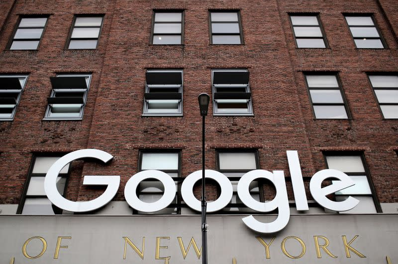 The outside of the Google offices is seen in Manhattan in New York