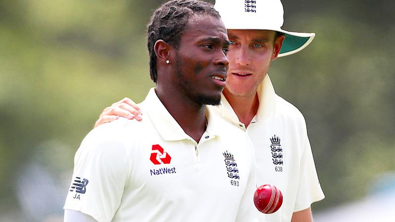 New Zealand Cricket has referred their investigation of racist abuse directed at England's Jofra Archer in a recent Test match to police. (Photo by DAVID GRAY/AFP via Getty Images)