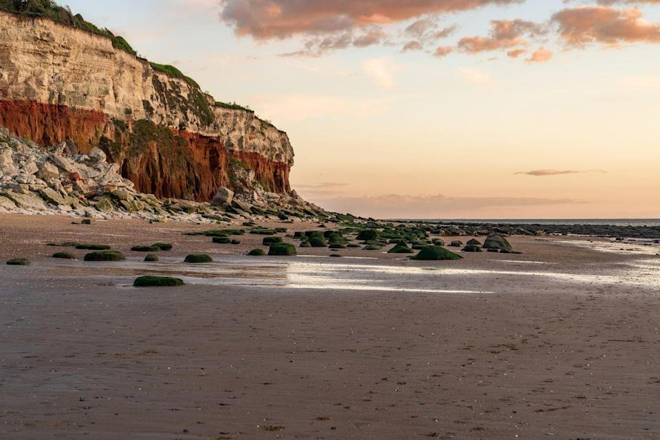 """<p>Adventure-lovers will adore the sandy beach of Old Hunstanton, known for its excellent kite surfing. It's backed by distinctive striped cliffs, and faces west so offers up a fantastic spot to watch spectacular sunsets; a romantic feature for couples or a beautiful feature for solo staycationers to soak up.</p><p>Families will love the excellent rock pooling at nearby Hunstanton and the shops, ice creams and rides at the Victorian resort. Old Hunstanton Beach is also great for pooches, being <a href=""""https://www.prima.co.uk/travel/a31093480/dog-friendly-holidays-with-hot-tub/"""" rel=""""nofollow noopener"""" target=""""_blank"""" data-ylk=""""slk:dog-friendly"""" class=""""link rapid-noclick-resp"""">dog-friendly</a> all year round.</p><p><strong>Where to stay:</strong> <a href=""""https://go.redirectingat.com?id=127X1599956&url=https%3A%2F%2Fwww.booking.com%2Fhotel%2Fgb%2Fthe-rose-amp-crown-snettisham-king-39-s-lynn.en-gb.html%3Faid%3D2070936%26label%3Dnorfolk-beaches&sref=https%3A%2F%2Fwww.redonline.co.uk%2Ftravel%2Ftravel-guides%2Fg34735930%2Fnorfolk-beaches%2F"""" rel=""""nofollow noopener"""" target=""""_blank"""" data-ylk=""""slk:The Rose & Crown"""" class=""""link rapid-noclick-resp"""">The Rose & Crown</a> in Snettisham is just 10 minutes inland, and is a relaxed pub with rooms that makes everybody (including dogs and children) feel welcome. Nearby Snettisham Beach is also a haven for bird watchers being next to the mud flats of RSPB Snettisham.</p><p><a class=""""link rapid-noclick-resp"""" href=""""https://go.redirectingat.com?id=127X1599956&url=https%3A%2F%2Fwww.booking.com%2Fhotel%2Fgb%2Fthe-rose-amp-crown-snettisham-king-39-s-lynn.en-gb.html%3Faid%3D2070936%26label%3Dnorfolk-beaches&sref=https%3A%2F%2Fwww.redonline.co.uk%2Ftravel%2Ftravel-guides%2Fg34735930%2Fnorfolk-beaches%2F"""" rel=""""nofollow noopener"""" target=""""_blank"""" data-ylk=""""slk:CHECK AVAILABILITY"""">CHECK AVAILABILITY</a></p>"""