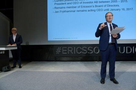 Ericsson Chairman of the board Leif Johansson presents Borje Ekholm as the new CEO for the Swedish telecom company Ericsson during a press conference at the company's headquarters in Kista, Stockholm, Sweden October 26, 2016. TT News Agency/Janerik Henriksson/ via REUTERS