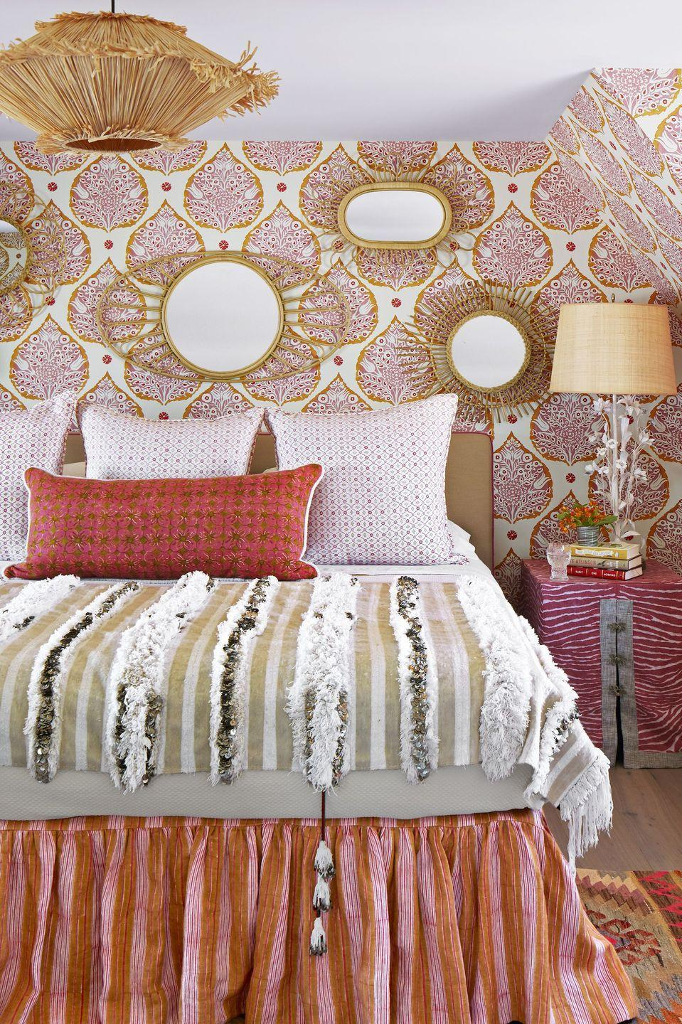 <p>If your teen has a favorite color and knows exactly what they want their room to look like, why not go all out? Make it feel like something they'll still want to sleep in when they're older by opting for good quality bedding and timeless lighting fixtures. Layering different textures also brings in some warmth. We're big fans of the gallery wall of mirrors above the bed for added dimension and light.</p>