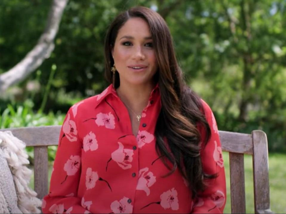 Meghan Markle speaks in a video message aired during the Vax Live concert (YouTube/Global Citizen)