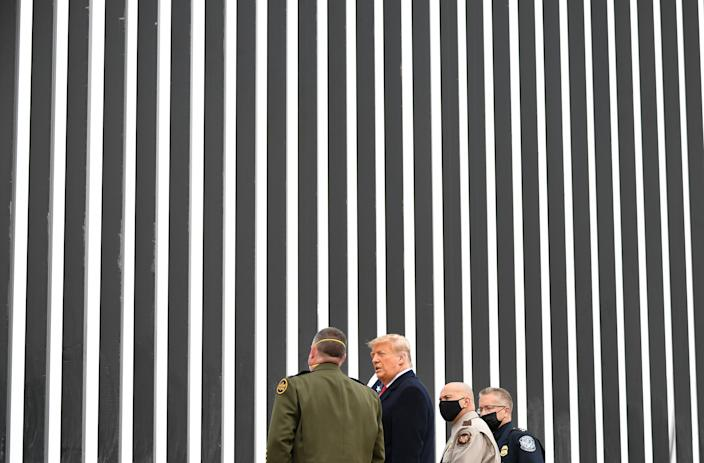 US President Donald Trump tours a section of the border wall in Alamo, Texas, on January 12, 2021. (Photo by MANDEL NGAN / AFP) (Photo by MANDEL NGAN/AFP via Getty Images)
