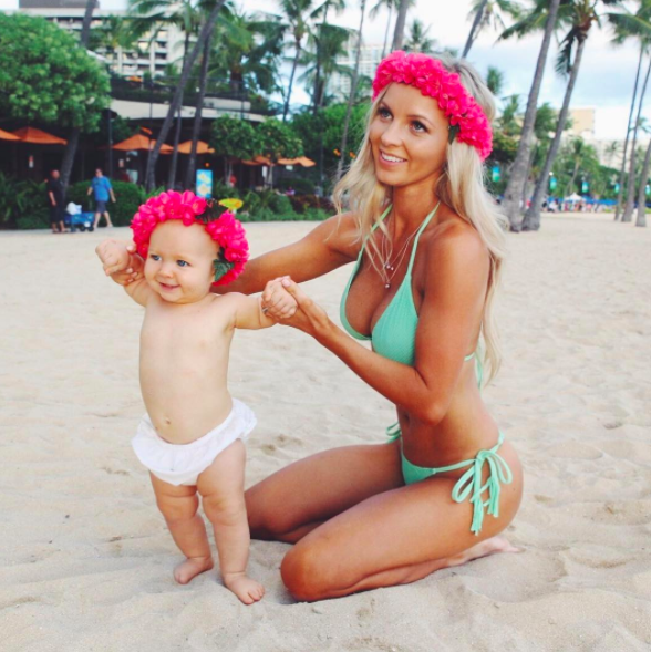 Hannah welcomed her daughter last year - but lost social media followers afterwards. Photo: Instagram