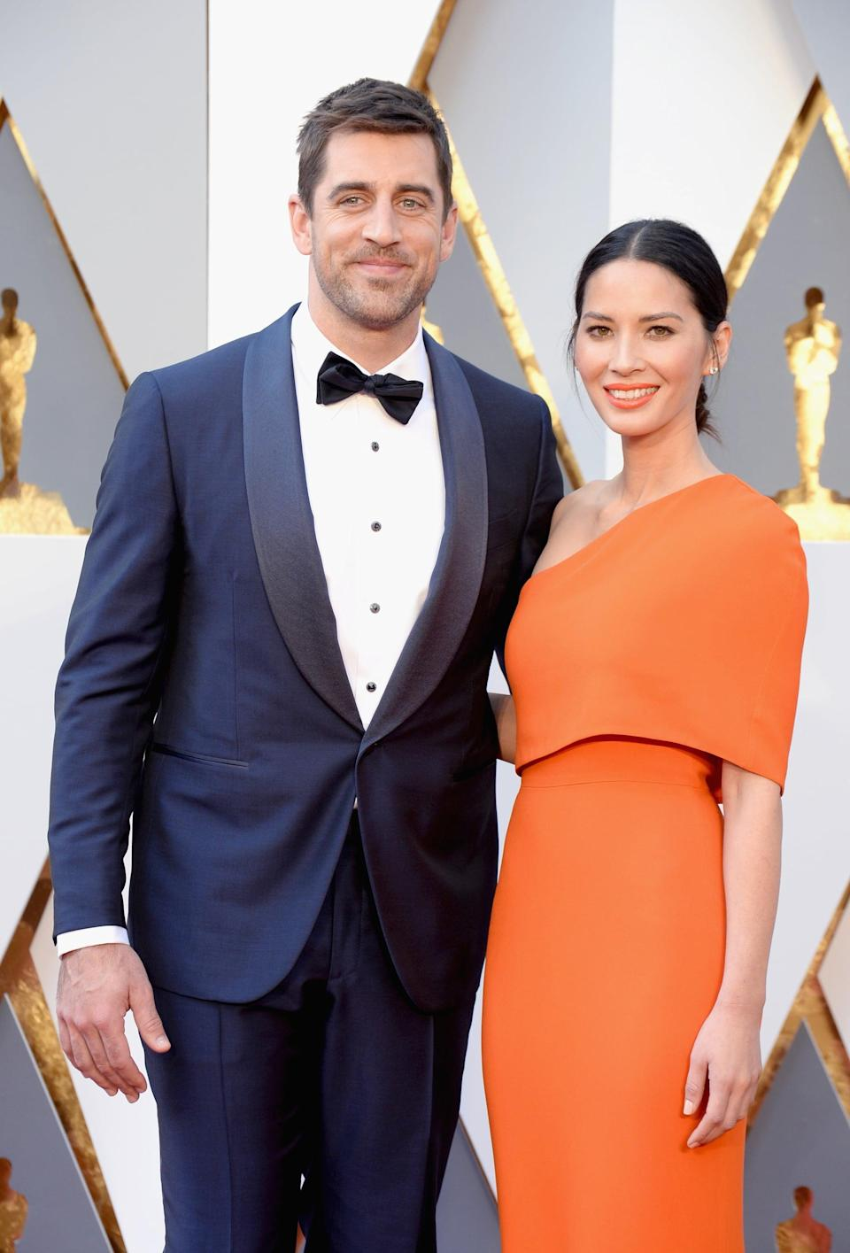 """<p><a href=""""https://www.popsugar.com/celebrity/Olivia-Munn-Aaron-Rodgers-Break-Up-43404229"""" class=""""link rapid-noclick-resp"""" rel=""""nofollow noopener"""" target=""""_blank"""" data-ylk=""""slk:Olivia and Aaron were together for three years"""">Olivia and Aaron were together for three years</a> before they went their separate ways in April 2017. According to <b>People</b>, <a href=""""https://people.com/celebrity/olivia-munn-aaron-rodgers-split/?xid=Popsugar"""" class=""""link rapid-noclick-resp"""" rel=""""nofollow noopener"""" target=""""_blank"""" data-ylk=""""slk:their split was amicable"""">their split was amicable</a> and they remain """"close friends."""" <a href=""""https://www.popsugar.com/celebrity/aaron-rodgers-engaged-shailene-woodley-48152702"""" class=""""link rapid-noclick-resp"""" rel=""""nofollow noopener"""" target=""""_blank"""" data-ylk=""""slk:Aaron is now engaged to Shailene Woodley"""">Aaron is now engaged to Shailene Woodley</a>. </p>"""