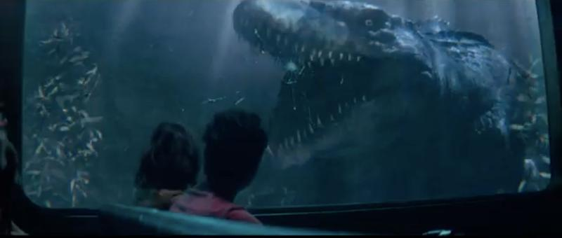 A Mosasaurus attack during 'Jurassic World: The Ride,' as seen in the Universal Studios commercial.