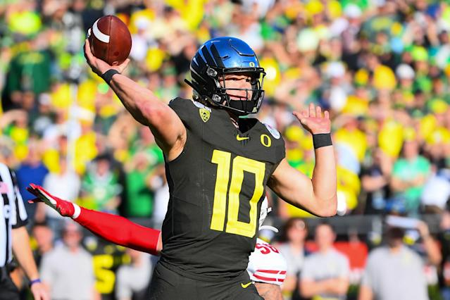Oregon QB Justin Herbert is a 2020 draft prospect the Miami Dolphins have done a lot of work on. (Photo by Brian Rothmuller/Icon Sportswire via Getty Images)