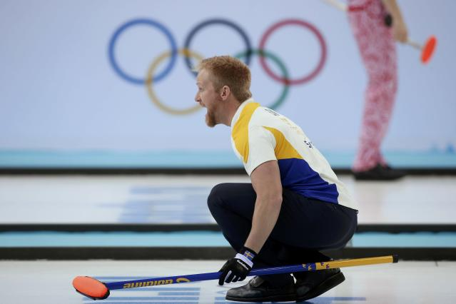 Sweden's skip Niklas Edin calls out instructions during their men's curling round robin game against Switzerland at the 2014 Sochi Olympics in the Ice Cube Curling Center in Sochi February 10, 2014. REUTERS/Mark Blinch (RUSSIA - Tags: OLYMPICS SPORT CURLING)