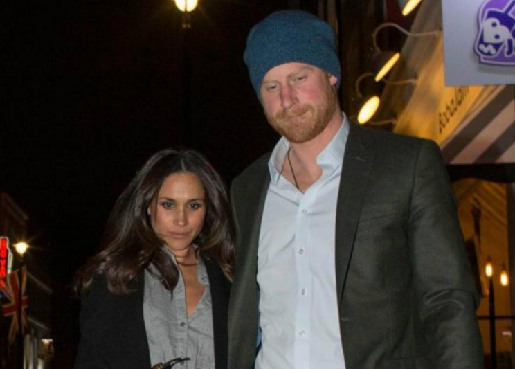 <i>Prince Harry and Meghan Markle went on a dinner date last night [Photo: Twitter/TheSun]</i>