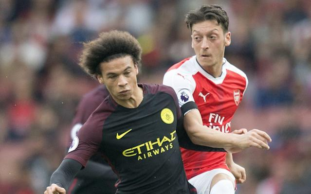 <span>Sane and Mesut Ozil are also close friends</span> <span>Credit: Rex Features </span>