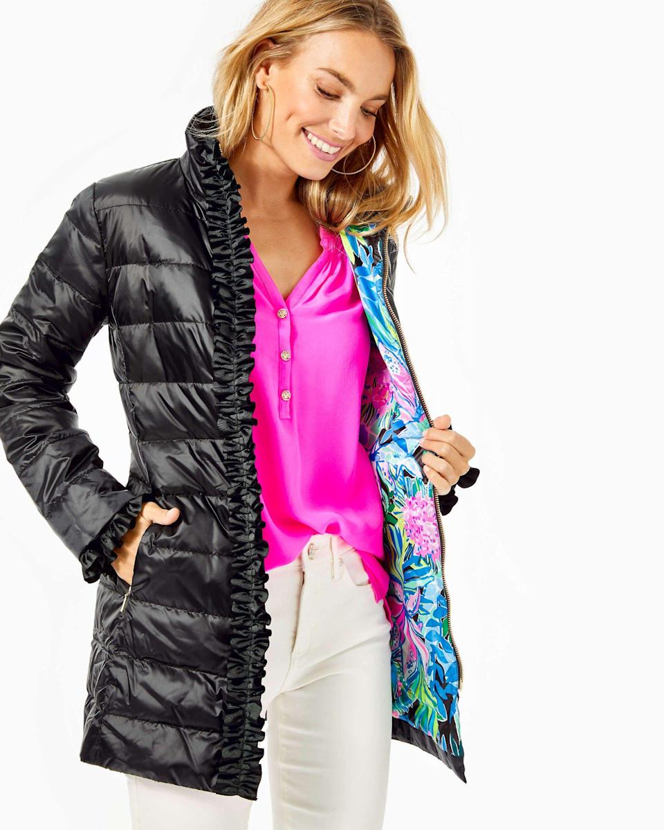 """<p><strong>Doria</strong></p><p>lillypulitzer.com</p><p><strong>$159.00</strong></p><p><a href=""""https://go.redirectingat.com?id=74968X1596630&url=https%3A%2F%2Fwww.lillypulitzer.com%2Fdoria-puffer-jacket%2F006510.html%3Fdwvar_006510_color%3D002%26ranMID%3D41728%26ranEAID%3DTnL5HPStwNw%26ranSiteID%3DTnL5HPStwNw-p7abBWW83nWvIhuqxVgK1g%26UTM_Source%3DSkimlinks.com&sref=https%3A%2F%2Fwww.townandcountrymag.com%2Fstyle%2Ffashion-trends%2Fg35129852%2Flilly-pulitzer-sale-january-2021%2F"""" rel=""""nofollow noopener"""" target=""""_blank"""" data-ylk=""""slk:Shop Now"""" class=""""link rapid-noclick-resp"""">Shop Now</a></p>"""