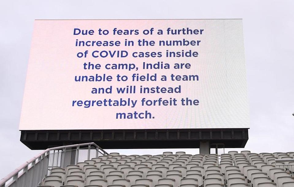 The message at Old Trafford this morning, although the ECB later clarified India did not forfeit the match (Getty Images)