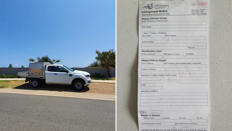 A ute parked off the road, on a nature strip next to a footpath in Cannonvale, the Whitsundays. A parking fine is also pictured.