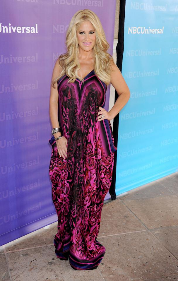 "Kim Zolciak (""<a href=""http://tv.yahoo.com/don-39-t-be-tardy-for-the-wedding/show/48397"">Don't Be Tardy for the Wedding</a>"") arrives at NBC Universal's 2012 Summer Press Day at The Langham  Huntington Hotel and Spa on April 18, 2012 in Pasadena, California."