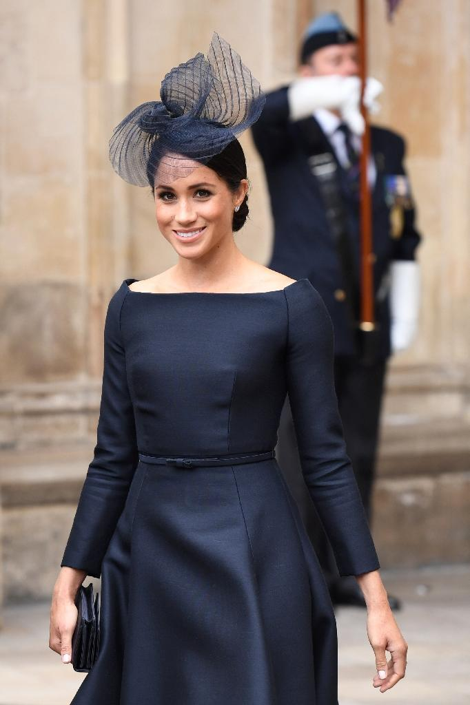 After becoming the Duchess of Sussex, Meghan has been required to bring off a more formal look such as at this service to mark the centenary of the Royal Air Force at Westminster Abbey last month (AFP Photo/Chris J Ratcliffe)