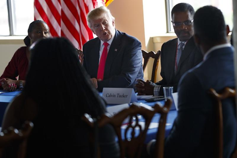 Donald Trump joins a roundtable discussion with African American business and civic leaders on Sept. 2, 2016, in Philadelphia.