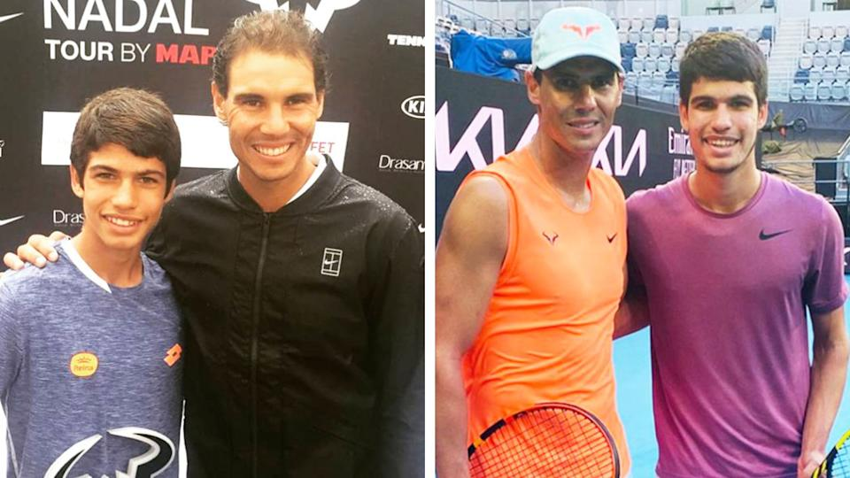 Rafael Nadal hugging tennis star Carlos Alzaraz when he was younger (pictured left) and during training when they are older (pictured right).