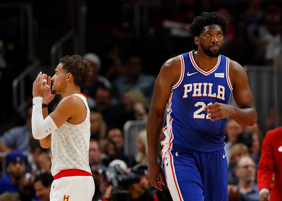 If Sixers star Joel Embiid is limited by his knee injury, Hawks point guard Trae Young becomes the most important player in the series. (Kevin C. Cox/Getty Images)