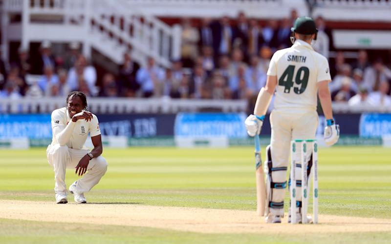 Englands Jofra Archer reacts as he bowls to Australias Steve Smith during day four of the Ashes Test match at Lord's, London. (Photo by Mike Egerton/PA Images via Getty Images)