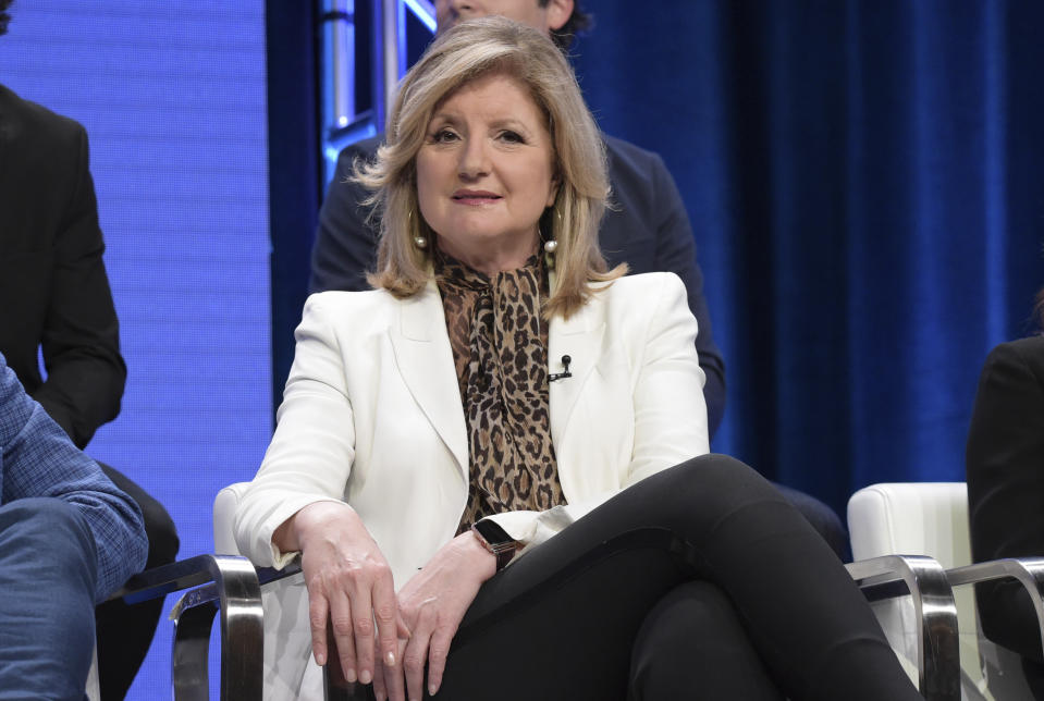 """FILE - In this July 25, 2018 file photo, executive producer Arianna Huffington participates in the """"Valley of the Boom"""" panel during the National Geographic Television Critics Association Summer Press Tour at The Beverly Hilton hotel in Beverly Hills, Calif. A """"behavior change"""" company founded by Huffington is teaming with Hachette Book Group on a series of wellness guides. The first release, """"Your Time to Thrive,"""" comes out in March 2021. (Photo by Richard Shotwell/Invision/AP, File)"""