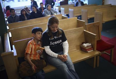 Elvira Arellano attends Sunday service in Adalberto United Methodist Church in Chicago