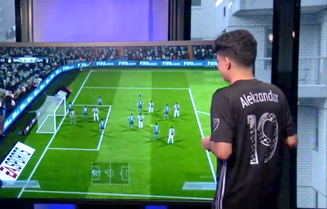 Alexander Betancourt plays FIFA in the Yahoo Finance studio on July 26, 2018.