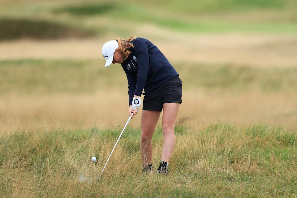 Scottish amatuer Louise Duncan didn't dress for the weather at Carnoustie but she did her best to tame the course at the AIG Women's Open