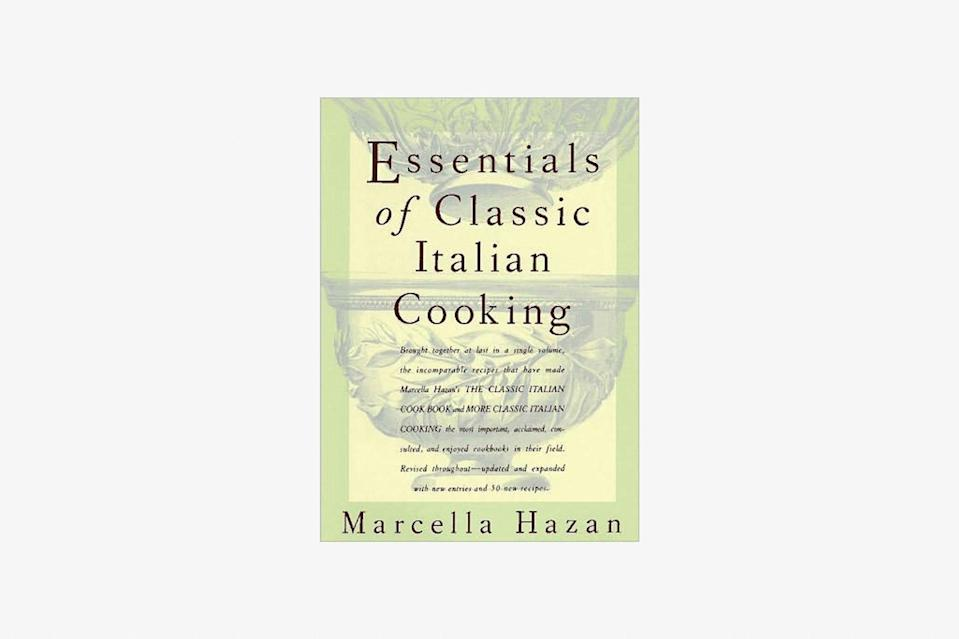 """Do you devoutly abide by incredibly specific Italian cooking decrees and not <em>really</em> know why? Ones that strictly forbid pre-grated cheese and garlic presses? Instruct starting onions in a cold pan? Defend dried pasta over fresh? Then you, my friend, have been influenced by Marcella Hazan. The matriarch of Americans who cook Italian is renowned for her strong opinions, yes, but also for her perfect, three-ingredient tomato sauce. Whole peeled tomatoes, halved onions, and butter—that'll do it. To access the troves of her wisdom, this timeless cookbook is a must-read. $35, Barnes and Noble. <a href=""""https://www.barnesandnoble.com/w/essentials-of-classic-italian-cooking-marcella-hazan/1100013646"""" rel=""""nofollow noopener"""" target=""""_blank"""" data-ylk=""""slk:Get it now!"""" class=""""link rapid-noclick-resp"""">Get it now!</a>"""