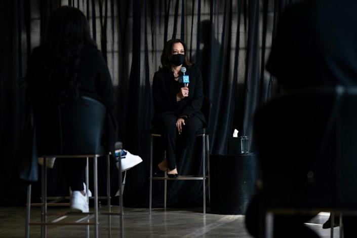 Kamala Harris, the first Black woman on a major-party US presidential ticket, listens to students of historically black universities in Atlanta, Georgia on October 23, 2020