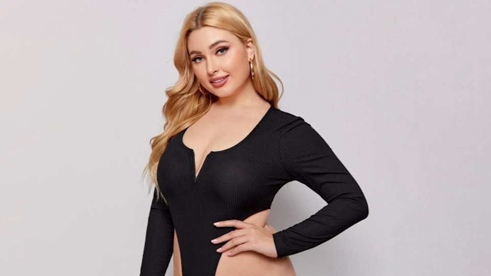 Images of SHEIN Plus V-bar Neck High Cut Bodysuit cut to hide extreme high cut
