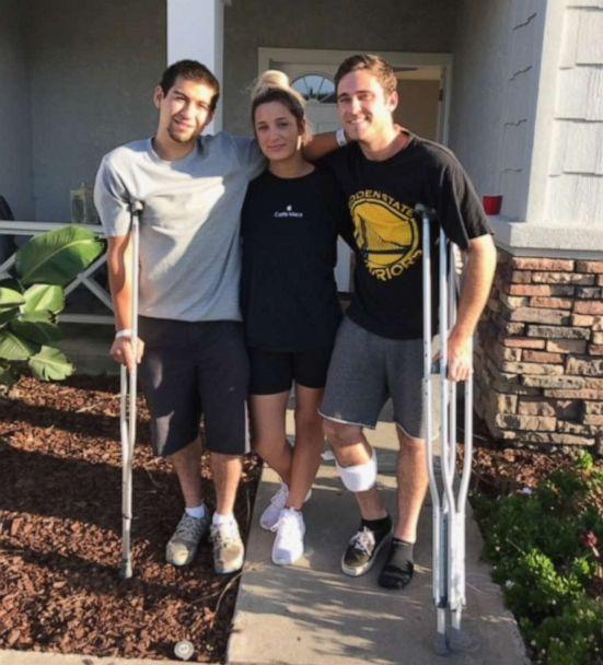 PHOTO: Justin Bates, Sarah Ordaz and Nick McFarland survived the Gilroy Garlic Festival shooting but suffered some injuries. (ABC)
