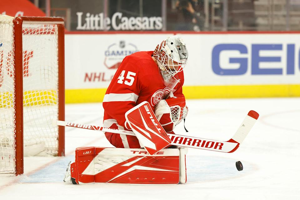 Detroit Red Wings goaltender Jonathan Bernier (45) makes the save in the first period against the Nashville Predators April 8, 2021 at Little Caesars Arena.