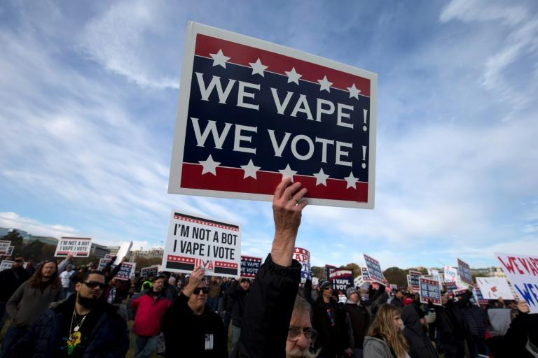 Vape consumer advocate groups and vape storeowners hold a rally outside of the White House to protest the proposed vaping flavor ban, on November 9, 2019