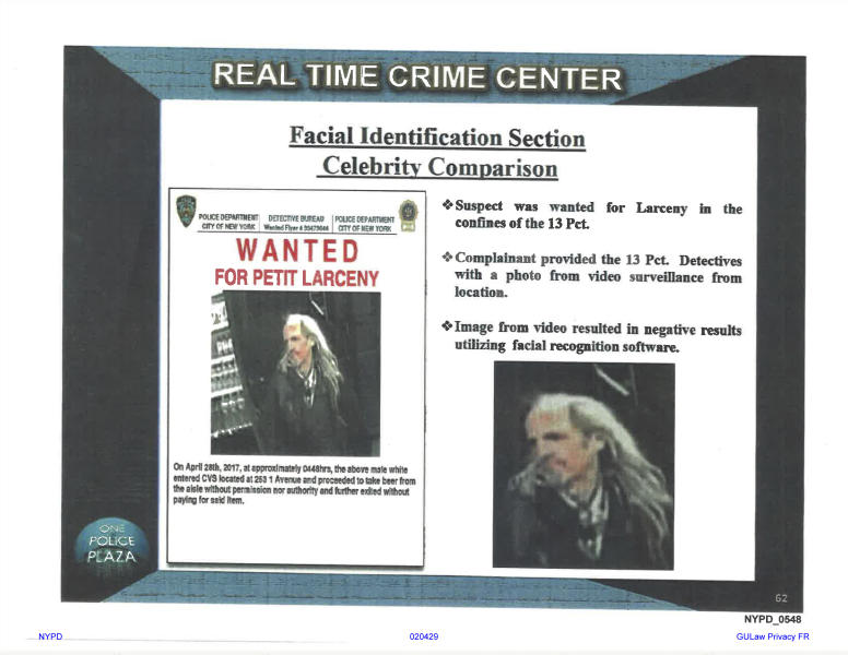 This undated image provided by Georgetown University's Center on Privacy and Technology shows presentation material with images of a wanted suspect in a New York Police Department document obtained by the university. Georgetown University's Center on Privacy and Technology published a report Thursday, May 16, 2019, on what it says are flawed practices in law enforcement's use of facial recognition. The report says NYPD used a photo of Woody Harrelson in its facial recognition program in an attempt to identify the beer thief who looked like the actor. (Georgetown University Center on Privacy and Technology via AP)