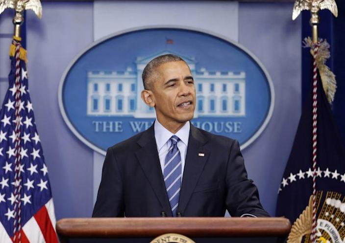 President Obama speaks during a news conference in the briefing room of the White House in Washington. (Photo: Pablo Martinez Monsivais/AP)