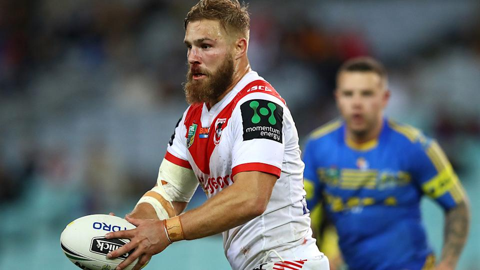 Jack De Belin, pictured here in action for the Dragons in 2017.