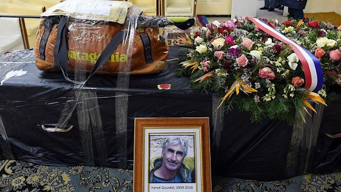 The backpack and the walking stick of Hervé Gourdel, a 55-year-old French mountain guide who was kidnapped and beheaded by jihadists in Algeria last September