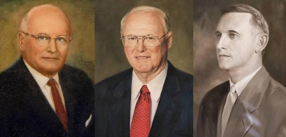 """Portraits of Randolph """"Buster"""" Murdaugh Jr. (left), Randolph Murdaugh III and Randolph Murdaugh Sr., hang in a courtroom in Hampton County's Courthouse in Hampton, SC. Three generations of the Murdaugh family have served as solicitors for the 14th Circuit."""