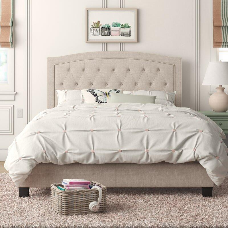 Pascal Tufted Upholstered Low Profile Standard Bed. Image via Wayfair.