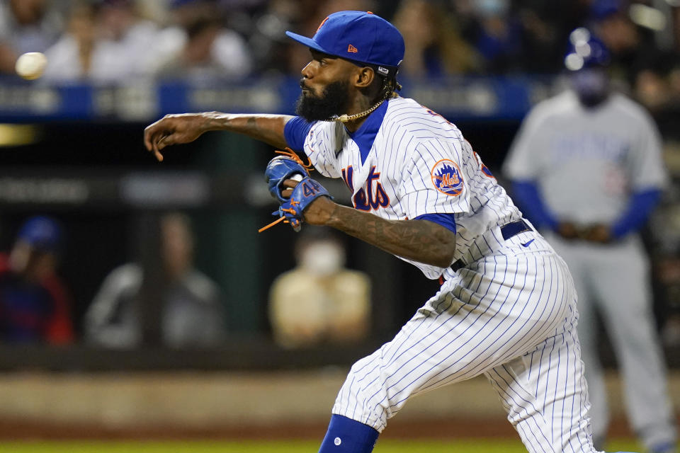 New York Mets' Miguel Castro delivers a pitch during the seventh inning of a baseball game against the Chicago Cubs Wednesday, June 16, 2021, in New York. (AP Photo/Frank Franklin II)