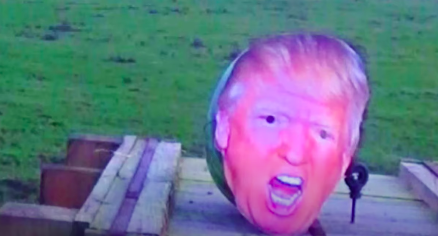 In one video, the trans survivalist from Lincoln smashed a watermelon with the face of Donald Trump. (Survival Mistakes/ YouTube)
