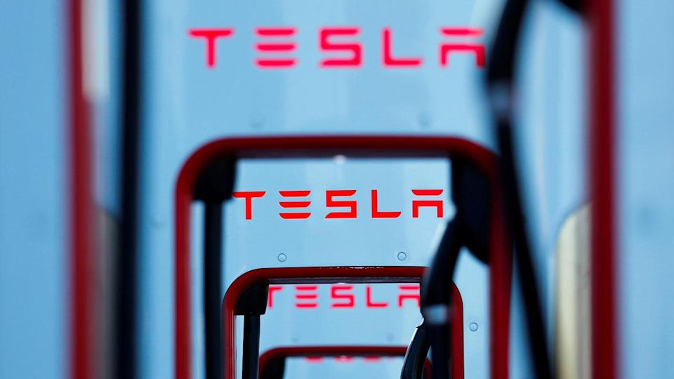 Tesla super chargers are shown in Mojave, California, U.S. Image: Reuters