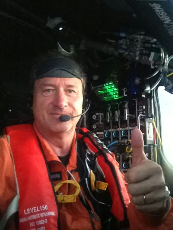 This handout photo released on July 2, 2015 shows André Borschberg during his flight after three consecutive days