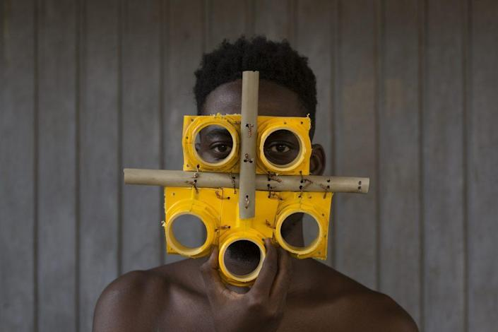 Artist Serge Attuwei Clottey's One-of-a-Kind Recyclable Face Mask, as featured in the Vicki Myhren Gallery's new