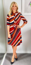 """<p>Holly Willougby donned a striped collar dress by <a rel=""""nofollow noopener"""" href=""""https://www.hobbs.co.uk/product/display?productID=0217-5961-9021L00&productvarid=0217-5961-9021L00-MULTI-12&refpage=clothing&gclid=EAIaIQobChMIjobH046g1wIVo7ftCh3RawJdEAQYBCABEgK3zPD_BwE#fo_c=1380&fo_k=0c60b6859d1ec9e13f2c9f70bee45046&fo_s=gplauk&fo_oid=3948"""" target=""""_blank"""" data-ylk=""""slk:Hobbs"""" class=""""link rapid-noclick-resp"""">Hobbs</a> and teamed the look with black court heels by LK Bennett. </p>"""